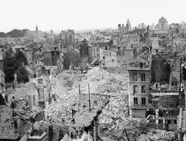 Allied bombing of Caen (Normandy, France) in 1944 Date: 1944