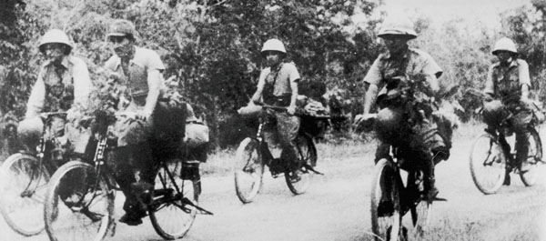 Japanese troops on bicyclces
