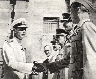 King George VI greets Malta servicemen.
